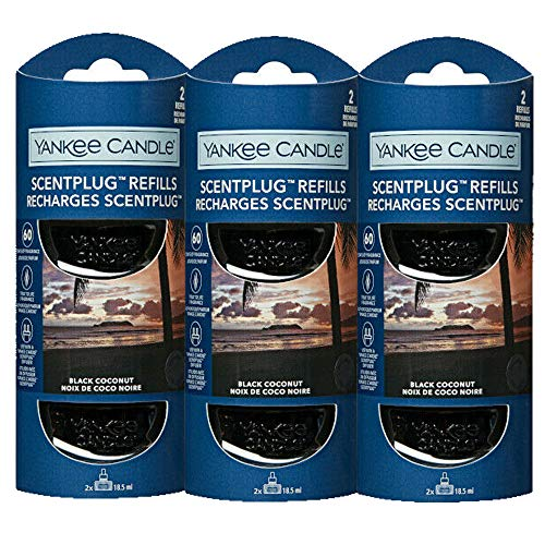 3 x YANKEE CANDLE Scent Plug In Air Freshener Refills (BLACK COCONUT)