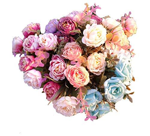 Flores Artificiales Roses Decoración Hogar Jardín Hotel Tienda Ideal para la Boda Fiestas Eventos, Pack 3 Ramos