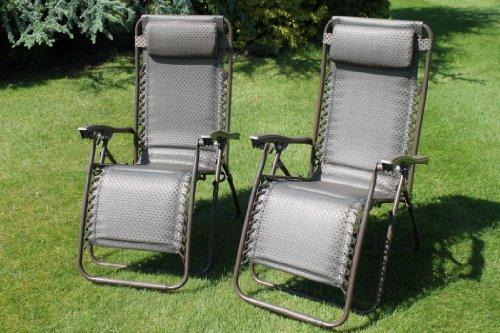 Olive Grove - Juego de 2 sillas largas de jardín acolchadas con revestimiento de textoline impermeable, color tweed