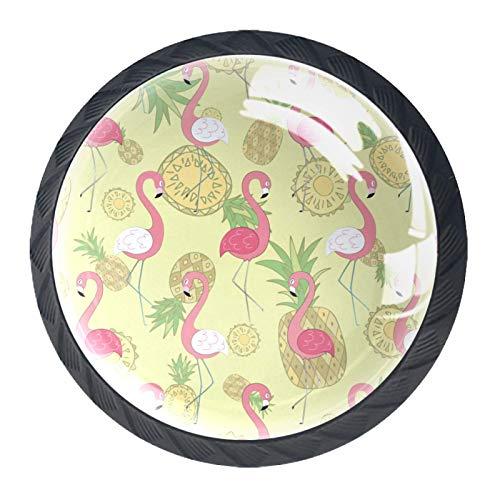Juego de 4 pomos redondos para aparador, diseño floral, colorido y decorativo, para decoración del hogar