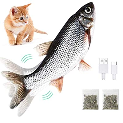 Cat Toy Moving Fish - Electric Flopping Kicker Fish Toy Realistic Simulation Wagging Fish Pet Toy Wiggle Fish Catnip Toys Motion Activated Kitty Toy for Kitten Puppy Funny Chew Bite Supplies