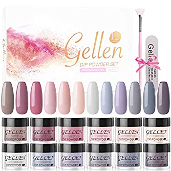 Gellen 12 Colors Dip Powder Nail Kit - Acrylic Dipping Powder French Manicure Popular Nail Dip Starter Kit No Nail Lamp Needed French Dip Manicure Set Nude Grays