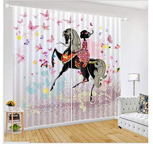 HomeAZWQ Vorhang Verdunkelung Blickdicht Verdunkelungsgardinen Gardinen Kinderzimmer Schmetterling Und Mädchen H215 X W260Cm