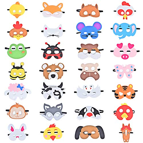 Queta Tiermasken Kinder, 28 Stück Tiermasken Bauernhof-Tiere Filz Tier Masks Maske für Geburtstag Bühnenaufführungen Thema Party (Typ 1)