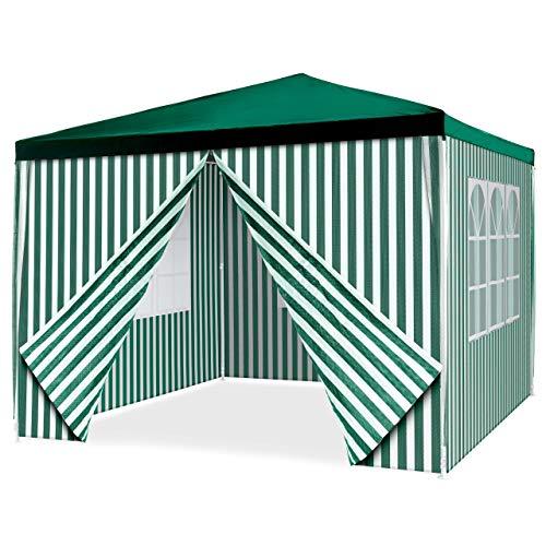 Nexos Pavillon 3x3 m in grün weiß PE Plane 110g/m² + 4 Seitenteile Partyzelt Gartenzelt Sonnenschutz Stahlgestell Festivalzelt Eventzelt Partyzelt