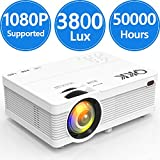 3800Lumens LCD Projector- Full HD 1080P Supported, Portable Mini Projector Compatible with HDMI, USB, AV, TF, VGA, Smartphones, TV Stick, PS4, DVD Player, Home Theater Entertainment