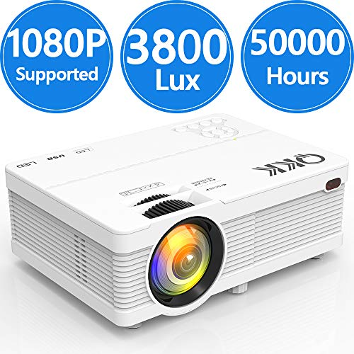 4500Lumens LCD Projector- Full HD 1080P Supported, Portable Mini Projector Compatible with HDMI, USB, AV, TF, VGA, Smartphones, TV Stick, PS4, DVD Player, Home Theater Entertainment
