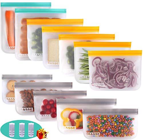 Reusable Storage Bags 12 Pack - Food Storage Bags(5 Ziplock Lunch Bags + 5 Reusable Snack Bags + 2 Leakproof Reusable Gallon Bags) BPA Free Freezer Ziplock Lunch Bags Leakproof Reusable Sandwich Bags
