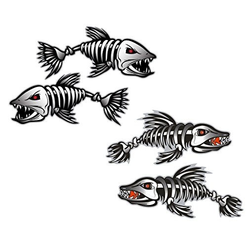 Homyl - 2 piezas / conjunto esqueleto de peces huesos barcos Canoa Kayak pegatinas gráficas de pesca + 2 piezas negro esqueleto rojo barco pescado adhesivos adhesivos, #1
