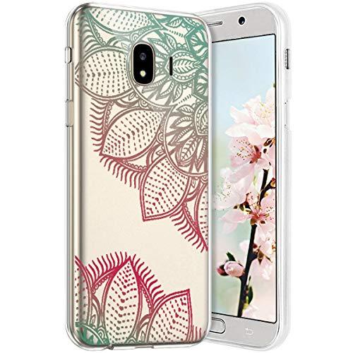Compatible avec Samsung Galaxy J2 Pro 2018 Coque en Silicone Transparente Motif Mandala Fleur Jolie Housse de téléphone Gel TPU Souple Ultra Mince Crystal Clear Skin Étui Coque Galaxy J2 Pro 2018,12#