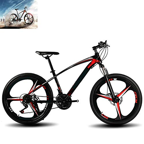 CAGYMJ Bicicleta De Montaña con Ruedas De 26 Pulgadas, Suspensión Doble para Hombres Y Mujeres, Marco De Acero De Alto Carbono, 21 Velocidades,Negro