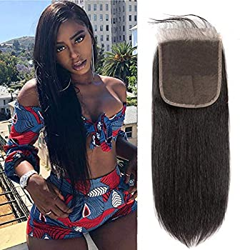 Kafeier Hair 6x6 Lace Closure Front Brazilian Human Hair With Baby Hair Straight Wave Pre Plucked Lace Closure Free Part Bleached Knot Brazilian Virgin Hair Natural Color(16 inch) …