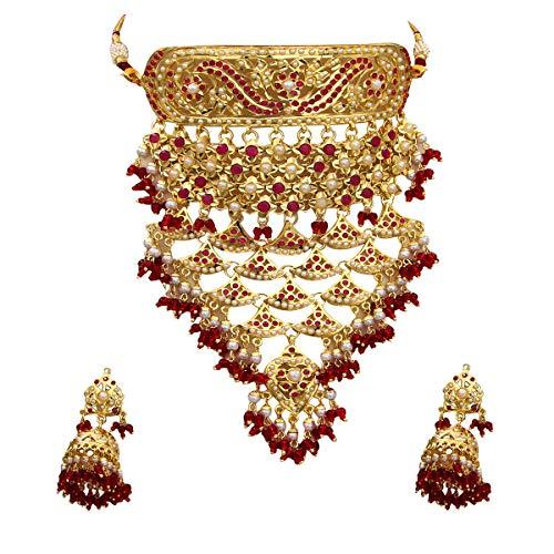 GemsOnClick Mujer chapado en oro-cobre redonda Red White Rojo Ruby-Pearl