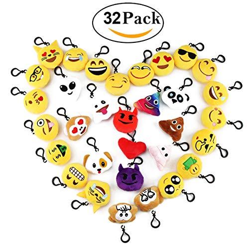 Cusfull Lot de 32 Mini Emoji Porte-clés en Peluche Mignon...