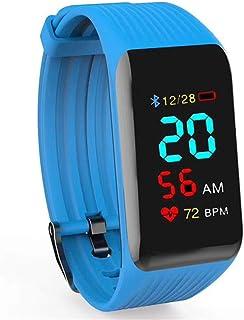 AIFB Monitor de sueño Pulsera Inteligente, Impermeable Pulsómetro podómetro Contador de calorias Rastreador de Ejercicios Bluetooth Empuje de notificación para Android iOS Phone,Blue-OneSize