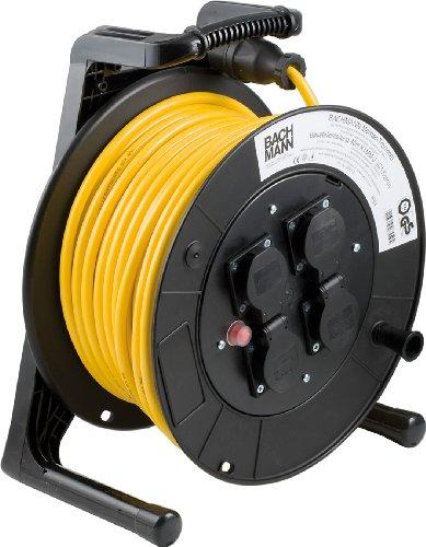 Bachmann 399.012 kabelhaspel, 4-voudig 40 m, met thermische zekering, zwart