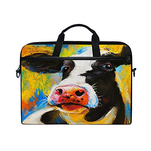 HaJie Laptop Bag Art Painting Milk Cow Animal Pattern Computer Case 14-14.5 in Protective Bag Travel Briefcase with Shoulder Strap for Men Women Boy Girls