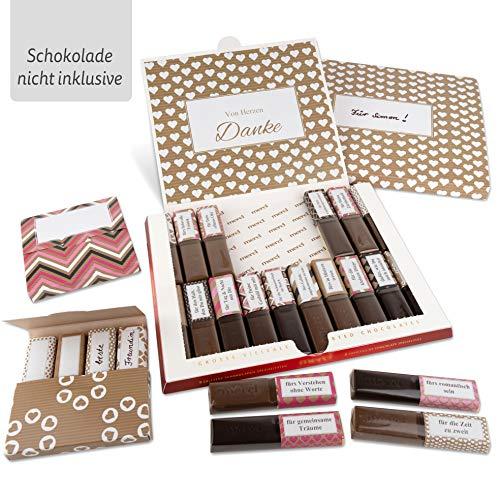 Netti Li Jae ® Aufkleber Set für Merci Schokolade inkl. Mini Schachteln – für 3 personalisierte Geschenke – persönliche Geschenkidee – Dankeschön Geschenke (Liebe)