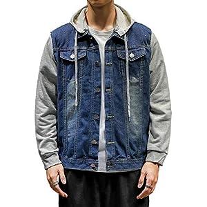 Men's Windbreaker Button Down Drawstring Hooded Classic Denim Jacket ...