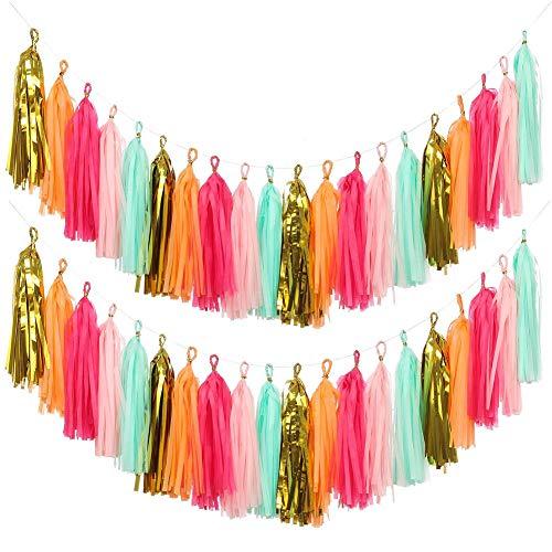 KOKER 40 PCS DIY Tassel Garland Tissue Paper Tassel Banner Pompom for Wedding, Bachelorette, Baby Shower, Birthday, Fiesta Fringe Party Banner, Home Decorations(Gold,Mint,Pink,Orange)