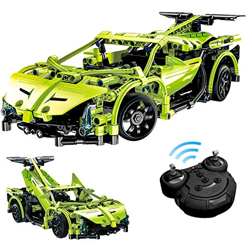 STEM RC Car Building Kit, Model Cars Kits to Build for Kids Adults Compatible with Lego Technic Car Building Set (Green)