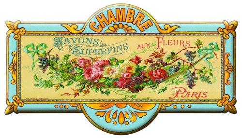 plaque metal de porte chambre -savons aux fleurs-8x20 cm-mp160