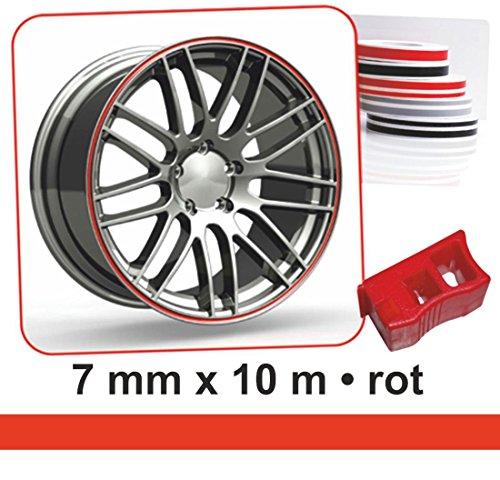 carstyling XXL Zierstreifen Wheel-Stripes für Autofelgen rot 7 mm x 10 m ~ schneller Versand...