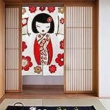 Generies Cortinas de cocina para hombres, con ilustración de una muñeca japonesa Kokeshi In Re Kitchens, cortina de puerta tipo largo para decoración de puerta de casa, cocina, 86 x 143 cm
