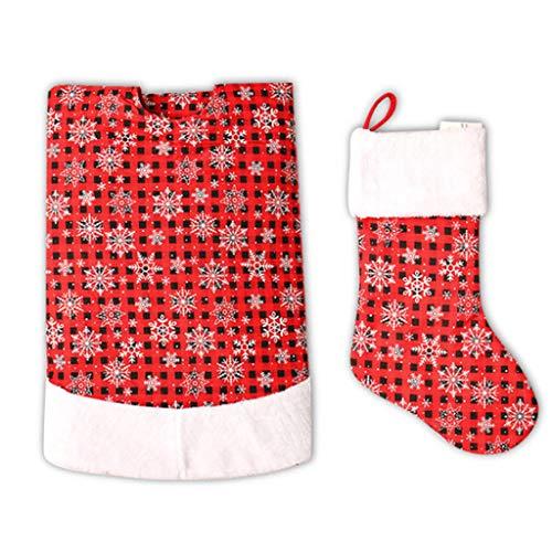 suoryisrty Adornos navideños 1 Juego Falda de árbol de Navidad no Tejida Faldas de árbol de Copos de Nieve de 48 Pulgadas Calcetín navideño para Decoraciones navideñas de Fiesta de Navidad