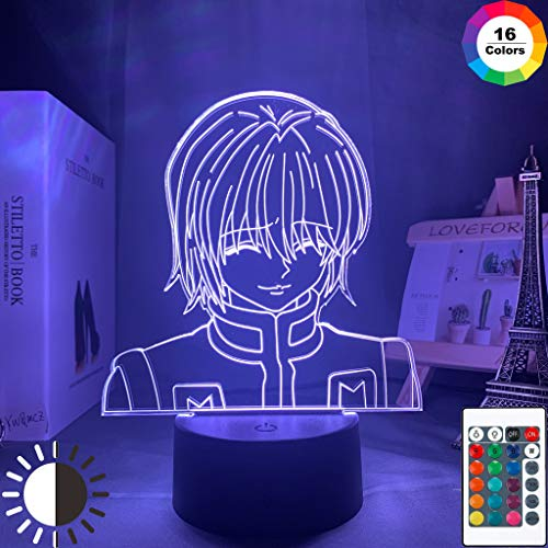 Kurapika Figura Acrílico Anime Hunter Hunter Kid HxH Night Light 3D LED Lámpara de mesa niños regalo de cumpleaños decoración de la habitación junto a la cama
