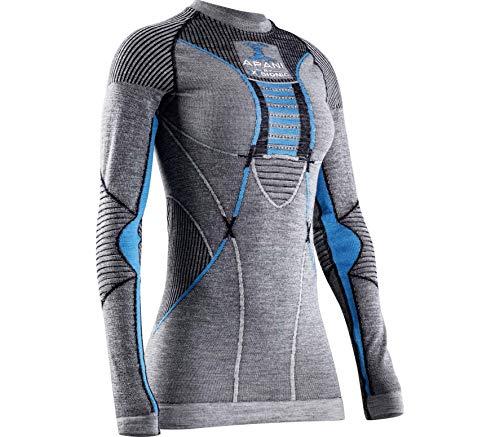 X-BIONIC APANI 4.0 Merino T-Shirt à Manches Longues pour Femme Noir/Gris/Turquoise Taille XL