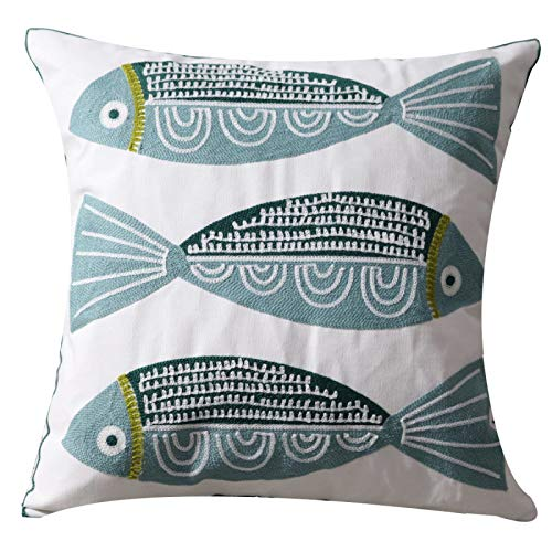 UnionKK Sofa Decorative Pillow Covers Embroidery Blue Fish Throw Pillowcase Cushion Cover 18 x 18 inches (Style-2)