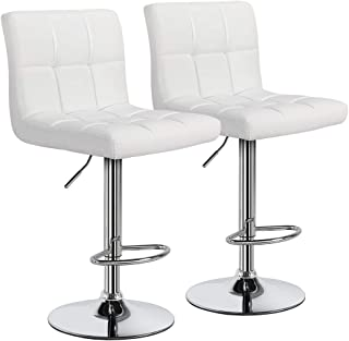 Yaheetech White Bar Stools Set of 2 Adjustable PU Leather Swivel Bar Chair Kitchen Counter/Bar Height Stools with Back, Bigger and More Stable Base
