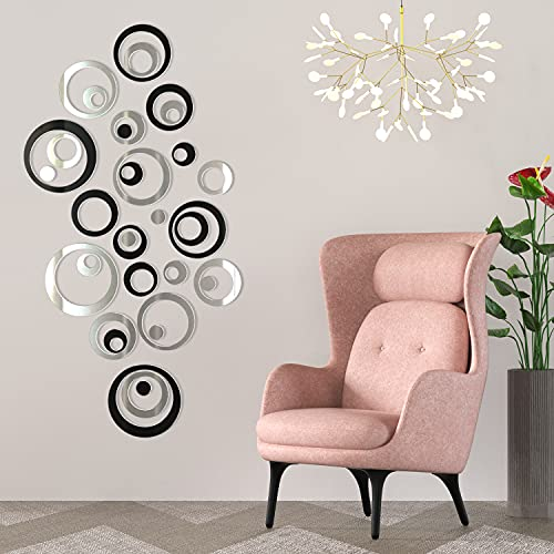 Mirror Wall Stickers, 36PCS Acrylic Mirror Stickers Wall Decals for Bedroom Large Size DIY Home Living Room Bathroom Decor (Black and Silver)