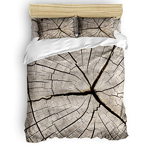 Duvet Cover Set 4 Pieces,Super Soft Bedding Down Comforter Cover with Zipper Closure, Machine Washable Breathable Microfiber Polyester Duvet Cover,Retro Rustic Old Wood Board Twin