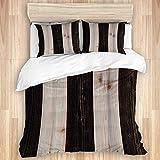 Copripiumino, pavimento in legno rustico con doghe stampa aspetto sgangherato stile rustico casa di campagna, set di biancheria da letto in microfibra di qualità ultra morbidezza Design moderno confor