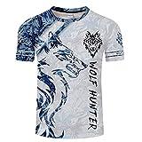 HUAN Camiseta de manga corta 3D para hombre con estampado 3D azul Wolf MMA, Martial Arts, Krav Maga, BJJ, K1, Karate Style 4-XXL
