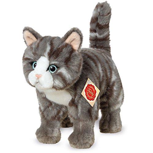 Teddy Hermann 918226 Katze stehend Plüsch, grau/getigert, 20 cm