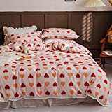LAYENJOY Lace Ruffle Duvet Cover Set Twin 100% Cotton Bedding Red Heart Orange Love Pattern Print on Light Pink 1 Romantic Comforter Cover with Zipper Ties 2 Pillowcases for Kids Teens Boys Girls
