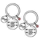 Porte-clés « Not Sister by Blood But Sister by Heart » avec pendentif en forme de cœur pour femme, fille, sœur, anniversaire, remise de diplôme, cadeau de mariage