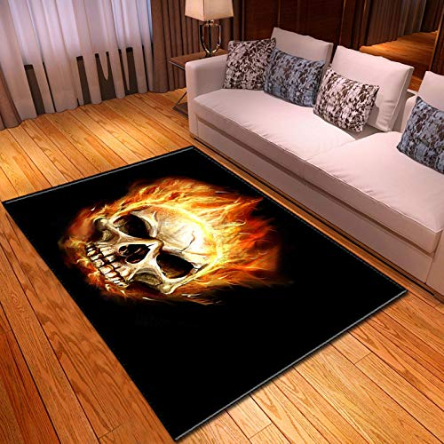 LGXINGLIyidian Casa Alfombra Serie Creativa del Cráneo del Demonio Oscuro Alfombra Suave Antideslizante De Decoración del Hogar De Impresión 3D T-476K 100X150Cm