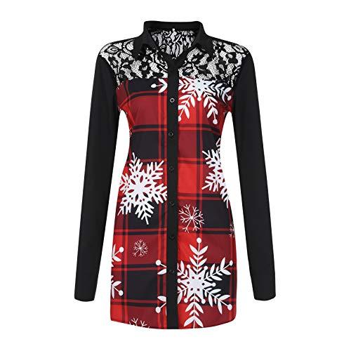 Geilisungren Damen Mode Weihnachten Druck Bluse Spitze Aushöhlen Patchwork Plaid...