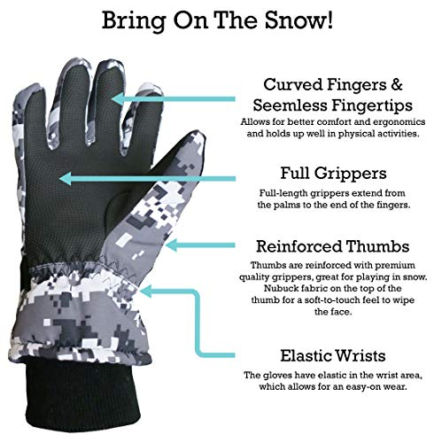 N'Ice Caps Kids Cold Weather Waterproof Thinsulate Camo Print Winter Gloves for Boys and Girls
