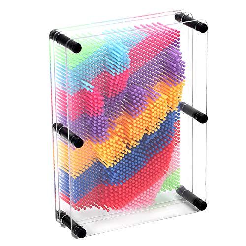 DORAMI Pin Art Board grande 3D Escultura Transparente acrílico Junta 6 x 8 pulgadas Rainbow Regalo Decoración de computadora