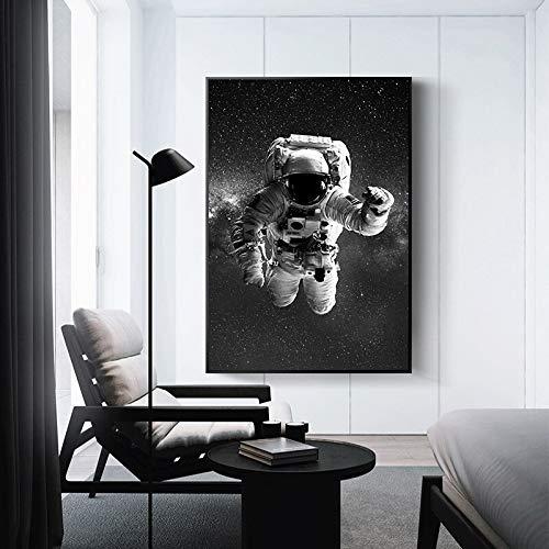 MJKLU Astronauta en Blanco y Negro y Estrellas de la Luna Agujero Negro Espacio Sueño Lienzo Pintura Arte de la Pared Póster Dormitorio Sala de Estar Oficina Estudio Decoración del hogar