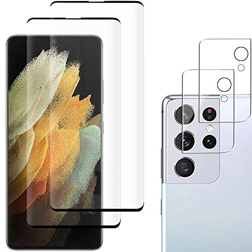 [2+2 Pack] Galaxy S21 Ultra Screen Protector Include 2 Pack Tempered Glass Screen Protector + 2 Pack Tempered Glass Camera Lens Protector,Anti-Fingerprint,Anti-Scratch for Galaxy S21 Ultra 5G