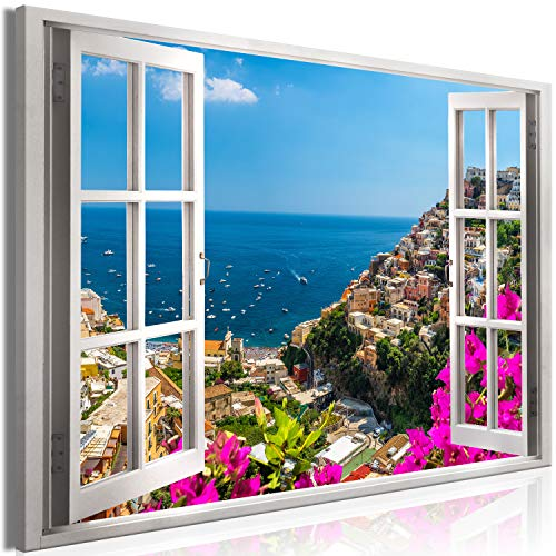 "artgeist Canvas Wall Art Print Window 35.4""x23.6"" 1 pcs Home Decor Framed Stretched Picture Photo Painting Artwork Image - Positano Valley Landscape d-C-0227-b-a"