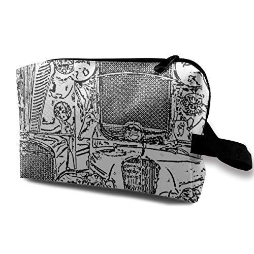 Grill Sketch-18 Repeat_8108 Kulturbeutel Kosmetiktasche Tragbarer Make-up-Beutel Travel Hanging Organizer Bag für Frauen Mädchen 10x5x6,2 Zoll