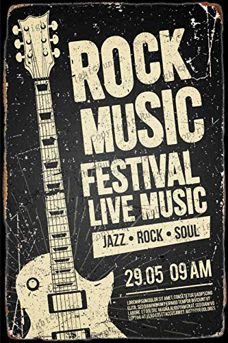 ROCK MUSIC Cartel de chapa Vintage, placa de pintura de hierro, decoración de pared, letrero de metal, café, cerveza, pub y cueva del hombre, cartel de arte retro de 8 * 12 pulgadas