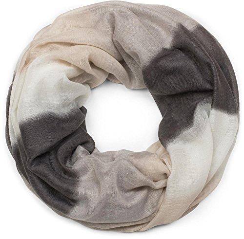 styleBREAKER Loop Schal mit Streifen Farbverlauf Muster, Schlauchschal, Tuch, Unisex 01018097, Farbe:Schwarz-Grau-Beige